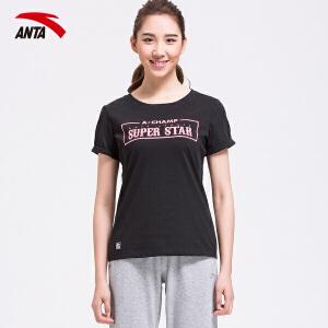 安踏女装短袖T恤夏季圆领简约百搭字母运动针织上衣16628140