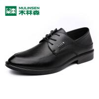 木林森男鞋 2017新款商务正装休闲皮鞋 舒适系带牛皮男士鞋子05177356