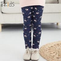 初语童装 冬装新款儿童打底裤女童打底裤加绒裤子T5420310072
