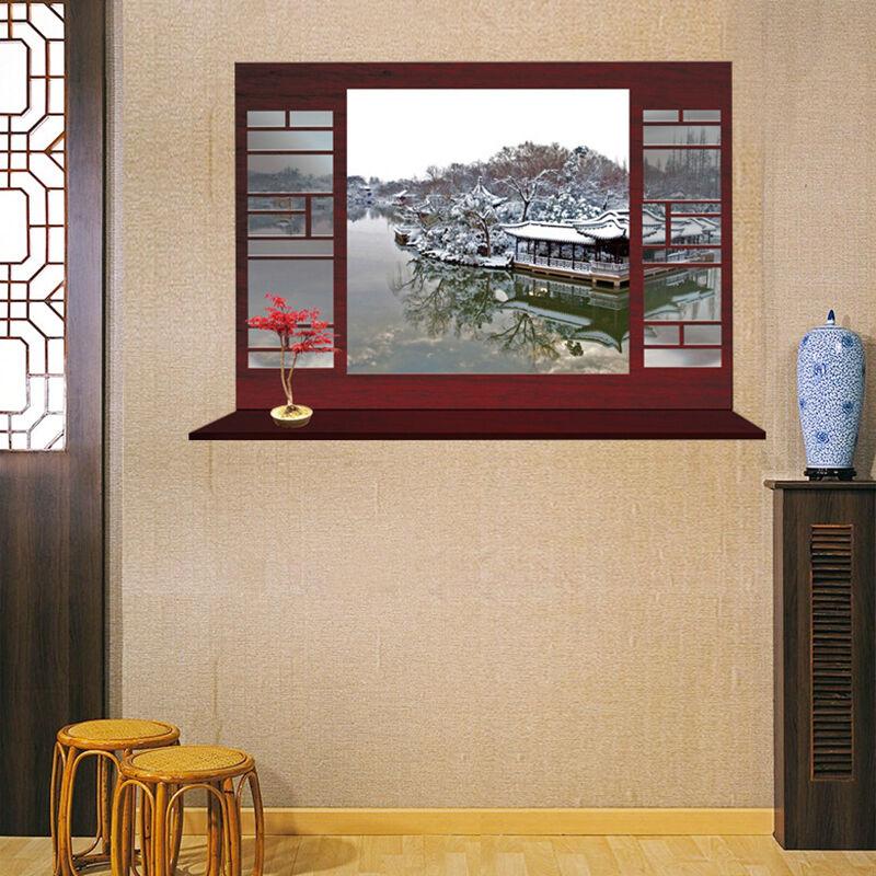 御目 中国风3d墙贴 可移除防水窗外中式园林风景壁纸 客厅卧室玄关