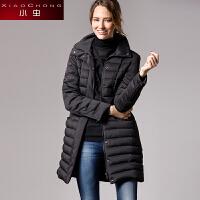 小虫 冬季新款欧美时尚百搭立领修身中长款黑色加厚羽绒服女