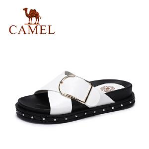 Camel/骆驼女鞋 2017夏季新款韩版简约凉拖 百搭厚底显瘦拖鞋女