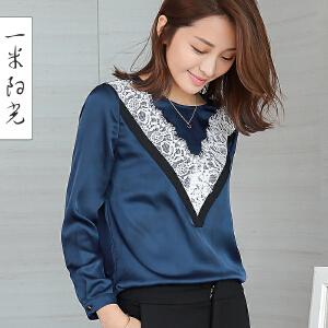 一米阳光2017春装新款韩版蕾丝雪纺衫百搭打底衫宽松上衣
