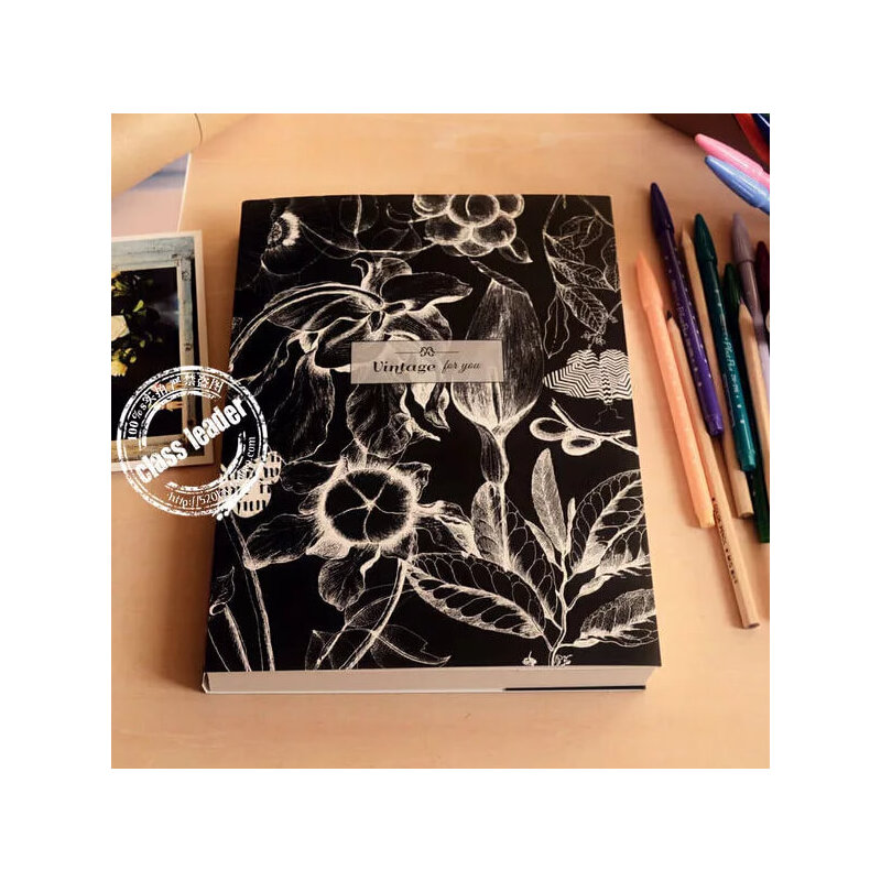笔记本子 黑白创意空白素描本记事本速写手绘画大日记本_黑色