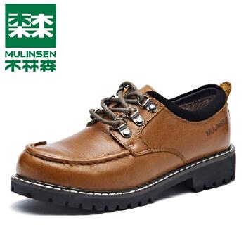 mulinsen木林森 女鞋时尚休闲防滑徒步真牛皮鞋户外工装女皮鞋220224