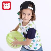 小猪班纳童装男童短袖T恤2017夏装新款男中大童上衣儿童印花欢乐农场短T