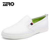 Zero零度新品男鞋真皮男休闲鞋板鞋软底皮鞋镂空休闲鞋潮鞋懒人鞋R71042