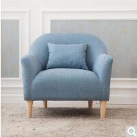 未蓝生活布艺沙发实木欧式小户型单双人亚麻客厅组合沙发套装 浅蓝色 双人位