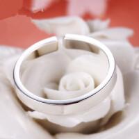 S925纯银情侣对戒一对开口食指戒指简约小指环男女学生潮饰品