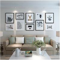 现代简约客厅装饰画 沙发背景墙面挂画壁画黑白组合北欧风格墙画