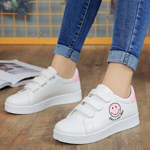 春季新款时尚小白鞋女单鞋圆头魔术贴板鞋百搭韩版潮鞋休闲鞋