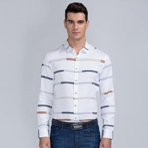才子男装(TRIES)长袖衬衫 男士2017年新款清新条纹拼色时尚休闲长袖衬衫