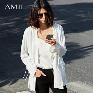 Amii[极简主义]2017春新品通勤简约宽松水袖中长纯色外套11780424