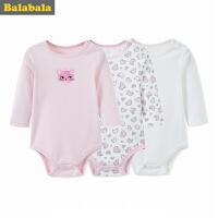 巴拉巴拉女婴儿连体衣儿童外出服婴童哈衣爬服秋季A类棉卡通长袖