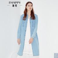 【3.21上新】海贝2017年春季新款女装薄外套 翻领口袋长款纯色水洗牛仔外套