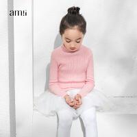 amii童装冬装新款女童毛衣高领针织衫女童套头打底衫+