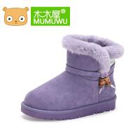 木木屋2016冬季新款保暖女童棉鞋防滑中筒靴平跟中大童公主雪地靴