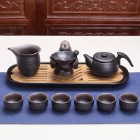林仕屋 整套禅风黑陶茶盘茶具套装�\色复古陶土功夫茶具茶壶茶杯套组CF01