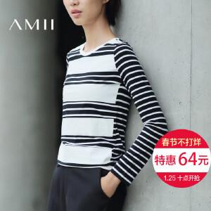 Amii[极简主义]2017春装新款修身黑白条纹休闲大码T恤女11682446