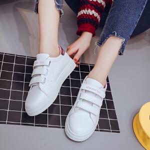 春夏新套脚款女士休闲鞋小白鞋魔术贴懒人鞋厚底板鞋学生鞋单鞋