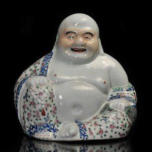 民国 粉彩弥勒佛瓷塑