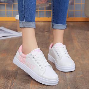 新款韩版字母小白鞋时尚低帮厚底女鞋系带拼色潮鞋板鞋学生鞋平底乐福鞋