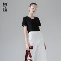 初语夏季女装纯色棉质短袖T恤女基础款V领简约白色大码打底衫女装