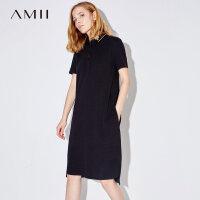 Amii[极简主义]夏装2017新款女POLO领短袖字母印花连衣裙11742368