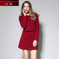 小虫冬装欧美时尚短款长袖套装套头修身气质半身裙短裙