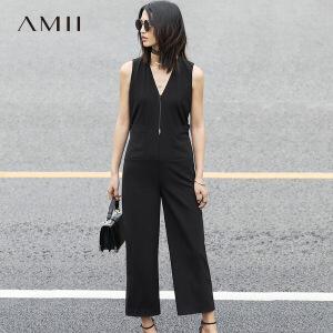 Amii[极简主义]2017春新大码时尚V领无袖拉链拼接连体裤11780256