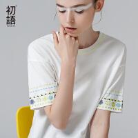 初语夏季新品清爽刺绣宽松大袖圆领短袖T恤女大码休闲时尚女装潮