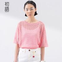 初语  春季新品  几何镂空花纹宽松中袖针织衫女 8610323040