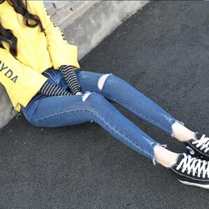 春季韩版破洞牛仔裤女高腰弹力紧身显瘦不规则边九分裤潮