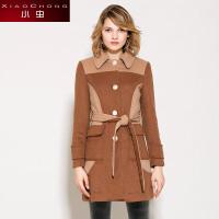 小虫 冬装新款欧美时尚外套撞色拼接羊毛呢外套中长款大衣女潮