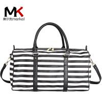 莫尔克(MERKEL)新款韩版条纹旅行包短途登机行李包大容量防水手提男女健身包旅游袋