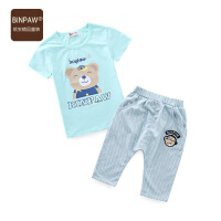 【3件7折】binpaw男童短袖套装2017夏季新款儿童套装 男宝宝运动套装