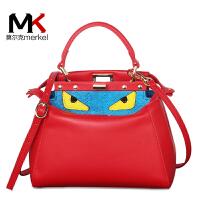 莫尔克(MERKEL)韩版时尚新款牛皮女包明星同款小猫包单肩斜跨手提包卡通小怪兽包