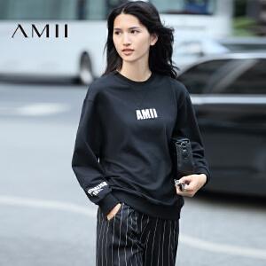 【AMII超级大牌日】[极简主义]2017年春季新款圆领套头休闲宽松长袖卫衣女11642600
