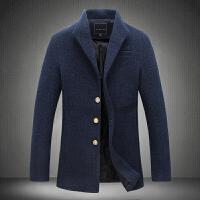 秋冬男士韩版修身毛呢大衣大码男士休闲毛呢风衣纯色休闲外套