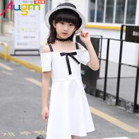 奥戈曼  女童夏装连衣裙中大童儿童装一字肩吊带裙小女孩时尚韩版淑女裙子