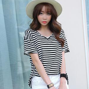 2017V领韩版女装春夏新款修身条纹破洞短袖纯棉T恤BB17202