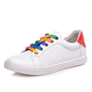 milkroses 休闲时尚彩虹系列透气镂空牛纹低帮鞋