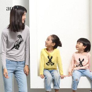 amii童装2017春新款亲子装长袖T恤一家三口装休闲上衣母女母子装