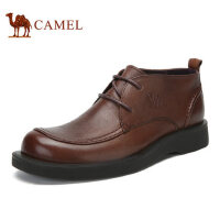 camel骆驼男靴 2016秋冬新品 休闲皮鞋 时尚皮靴圆头男靴系带鞋