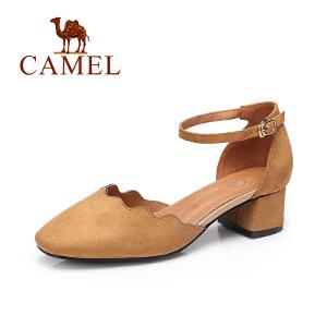 camel骆驼女鞋 2017春夏新款猫跟鞋 欧美风时尚气质一字扣带圆头单鞋