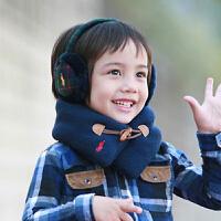 货到付款 Yinbeler儿童秋冬宝宝围巾婴儿围脖0-2岁双层柔软脖套婴儿围巾保暖毛线针织木扣围巾 藏青色