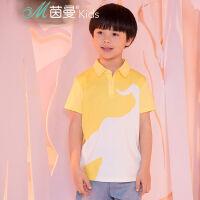 茵曼童装 2017夏季新款中大男童迪士尼翻领短袖纯棉t恤【D3872022192】