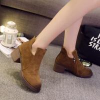 粗跟短靴女春秋单靴真皮磨砂圆头马丁靴厚底短筒女靴欧美短靴
