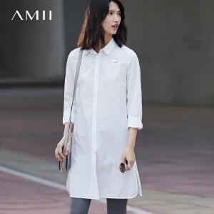 Amii[极简主义]2017春女字母印花通勤长袖中长款大码衬衫11770418