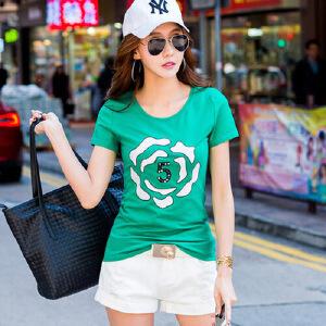 2017夏季女装上衣t恤韩版半袖体恤衫修身短袖T恤女打底衫棉ZY3829